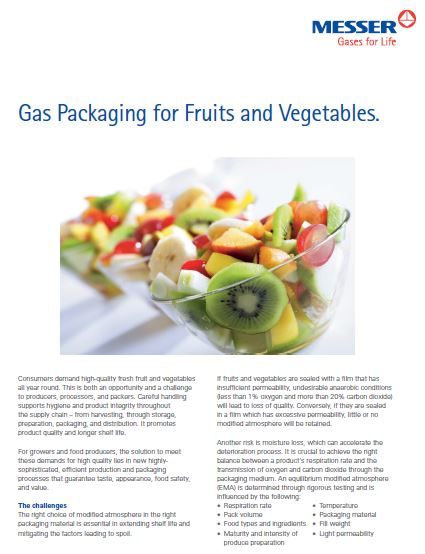 Gas Packaging for Fruits and Vegetables