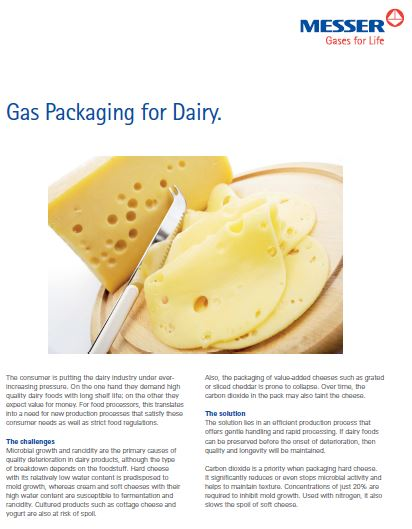 Gas Packaging for Dairy