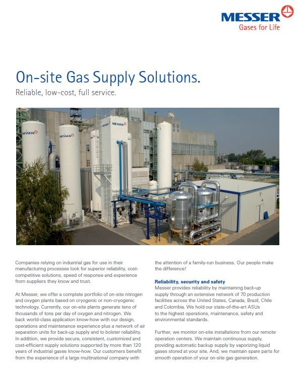 On-site Gas Supply Solutions
