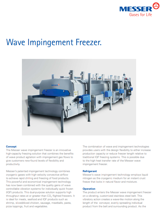 Messer's Wave Impingement Freezer